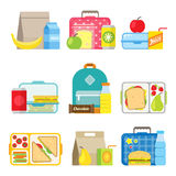 Children`s school lunch box icon in flat style. School lunch boxes set. Children`s lunch bags and trays with hamburgers, soda, frits and other food. Kids school Stock Images