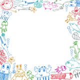 Children's sea creatures square frame background. On white royalty free illustration