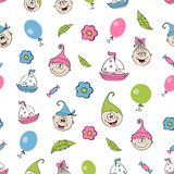 Children`s seamless background, pattern. Manually the drawn amusing little men and gnomes, children and objects. A pattern for children`s diapers, bags Stock Image
