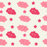 Children`s Seamless Pattern Background with Sun, Cloud and Stars Vector Illustration. EPS10 Royalty Free Stock Photo