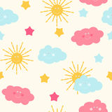 Children`s Seamless Pattern Background with Sun, Cloud and Stars Vector Illustration Stock Image