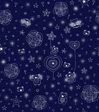 Children's seamless pattern. Cheerful night little men with small lamps. seamless pattern Royalty Free Stock Photos