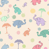 Children`s seamless pattern with elephants and trees, fruits. Children`s seamless background with elephants and trees, fruits. Flat icon template set. Vector Royalty Free Stock Photo