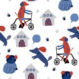 Children`s seamless pattern with funny dogs, doghouse, bycycle vector illustration
