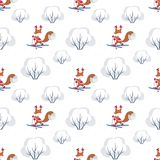 Funny squirrel seamless pattern Stock Photos