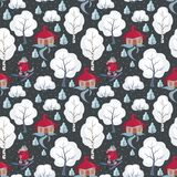 Funny wolf pattern. Children`s seamless pattern with the image of funny forest animals and winter landscape. Vector background Royalty Free Stock Photo