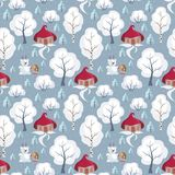Fairy forest pattern. Children`s seamless pattern with the image of funny woodland animals and snowmen. Vector background Royalty Free Stock Photo