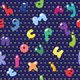 Children`s seamless pattern of letters of the English alphabet i. N the style of Doodle Stock Photos