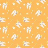 Children`s seamless pattern. The tooth in the crown. royalty free illustration