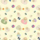 Children`s seamless pattern with toys and balls. Children`s seamless background with toys and balls. Flat icon template set. Vector illustration Stock Image
