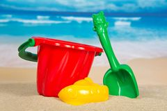 Children's set for game with sand. On the seashore Stock Photography