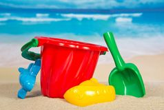 Children's set for game with sand. On the seashore Royalty Free Stock Image