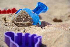 Children`s set for game with sand on the seashore Royalty Free Stock Image