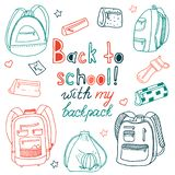 Children`s set of outline drawings of backpacks and school things vector illustration