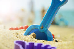 Children`s set for playing with sand on the beach. summer rest.  Royalty Free Stock Photo