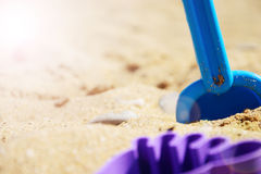 Children`s set for playing with sand on the beach. summer rest.  Royalty Free Stock Photography