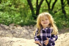 Children`s shampoo. Boy smile on idyllic spring or summer day Royalty Free Stock Photography