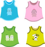 Children's shirts. Set of Children's shirts with pets. Vector illustration Royalty Free Stock Photo