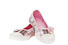 Children's shoes. Isolated children's shoes on white Royalty Free Stock Photography