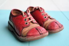 Children`s shoes from the eighties royalty free stock image