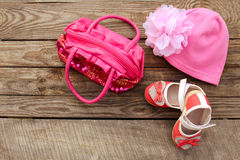 Children's shoes, hat and handbag Stock Photography