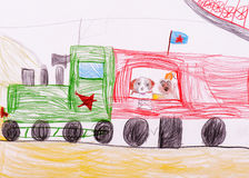 Children's sketch. Dogs traveling by train Stock Photography