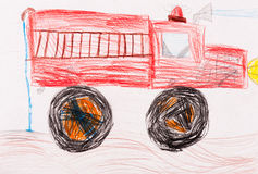 Children's sketch. red fire truck. Children's drawing. red fire truck Stock Photo