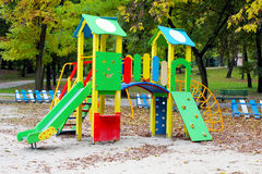 Children's slide at the park. At the playground slide from which children eat Royalty Free Stock Image