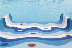 Children's slide in the pool water park, view from above Royalty Free Stock Image