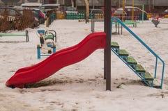 Childrens slide winter Stock Photos