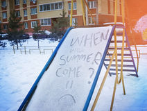 Children`s slide with th words ``when will summer come``, summ. Er concept, tired of royalty free stock photo
