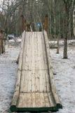 Children`s slide, wooden. Children`s playground, children`s scores. Children`s slide, wooden Stock Images
