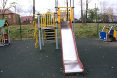 Children`s slides and playgrounds.  Royalty Free Stock Photography