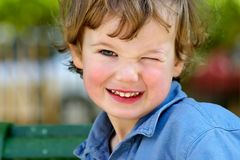 Children's slyness. Boy with pleasure looks at the bright solar world surrounding him Royalty Free Stock Photography