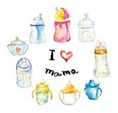 Children`s small bottles and cups. Watercolor hand drawn illustration vector illustration