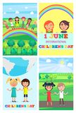 Children s Special Day Colorful Poster of Four. Children s special day in beginning of summer. Vector colorful poster of four 1 June cards with happy Stock Image