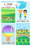 Children s Special Day Colorful Poster of Four. Universal Childrens Holiday posters set. Special day in beginning of summer. Vector colorful poster of four 1 Royalty Free Stock Photos