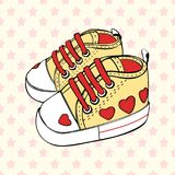 Vector children`s sport shoes baby boy or baby girl. Children`s sport shoes baby boy or baby girl Royalty Free Stock Images