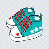 Vector children`s sport shoes baby boy or baby girl. Children`s sport shoes baby boy or baby girl Stock Photography