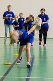 Children`s sports competitions in the Kaluga region of Russia. stock photo