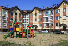 Children's sports complex in the courtyard. Of a modern home Stock Photos