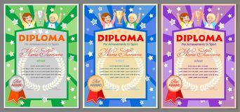 Children`s sports diploma for 1st, 2nd and 3rd places. Children`s sports diploma or certificate for 1st, 2nd and 3rd places with a girl and a boy, cups and vector illustration