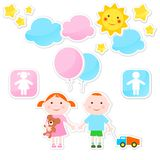 Children's stickers. Set of stickers with children's figures Stock Image