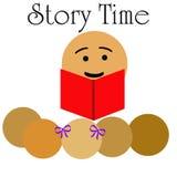Children's story time. School teacher reading to children illustration story time Stock Photos