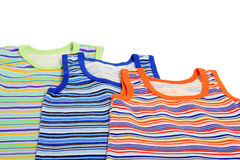 Children's Striped Tank Tops. Isolated on white Royalty Free Stock Photos