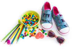 Children's stuff and sweets Royalty Free Stock Photography