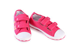 Children's stylish sneakers isolated on white Royalty Free Stock Photos