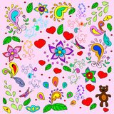 Children's summer background with bears and hearts. Royalty Free Stock Photography
