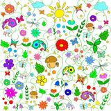 Children's summer pattern with flowers, leaves, mushrooms, sun, clouds, dragonflies, bees, stars and butterflies Stock Photos