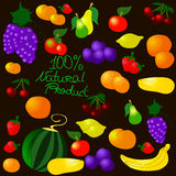 Children's summer pattern with fruits. Children's summer pattern with fruits on black background, can be used for wallpaper, pattern fills, web page background Stock Photo